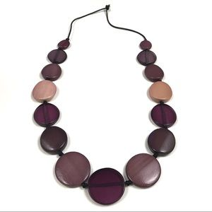 Large Flat Multi-Violet Beaded Necklace